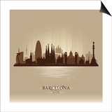 Barcelona Spain City Skyline Poster by  Yurkaimmortal