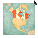 Map Of North America - Canada (Vintage Series) Prints by  Tindo