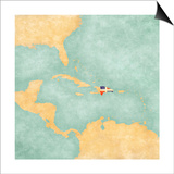 Map Of Caribbean - Dominican Republic (Vintage Series) Prints by  Tindo