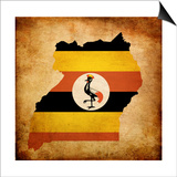 Map Outline Of Uganda With Flag Grunge Paper Effect Posters af  Veneratio
