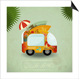 Summer Travel Bus In Retro Style Posters by  elfivetrov