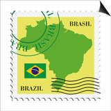 Stamp With Map And Flag Of Brazil Posters by  Perysty