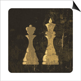 Grunge Illustration Of King And Queen Chess Figures Posters by  pashabo