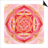 Abstract Red Painted Picture With Circle Pattern, Mandala Of Muladhara Chakra Poster by  shooarts