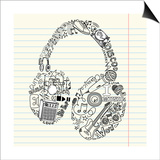 Music Doodles In The Shape Of A Earphones Poster by Alisa Foytik