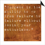 Inspirational Quote By Winston Churchill On Earthy Brown Background Poster by  nagib