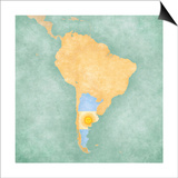Map Of South America - Argentina (Vintage Series) Prints by  Tindo