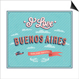 Vintage Greeting Card From Buenos Aires - Argentina Prints by  MiloArt