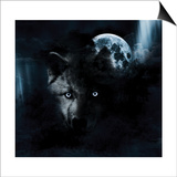 Wolf And Full Moon Prints by  aliensprog