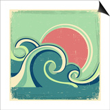 Abstract Seascape Poster With Sea Waves And Sun Prints by  GeraKTV
