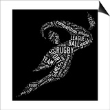 Rugby Football Pictogram With White Wordings Poster by  seiksoon