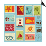 Sea Elements Stamp Collection Print by  woodhouse