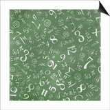 Mathematics Formulas Abstract Background (On Green Chalkboard) Posters by  pashabo
