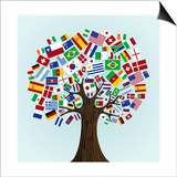 Flags Of The World Tree Pósters por  cienpies