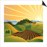 Summer Solar Rural Landscape With A Sunset And Mountains Print by  crop