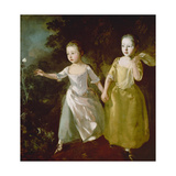The Painter's Daughters Chasing a Butterfly. Probably About 1756 Art by Thomas Gainsborough