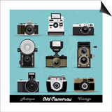 Set Of Vintage Cameras Background Prints by  Melindula