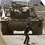 Palestinian Stone Thrower Faces an Israeli Tank, Between Israel and the Gaza Strip Posters