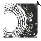 Black And White Music Background Print by  catrin81