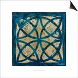 Stained Glass Indigo IV Kunstdrucke von Megan Meagher