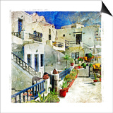 Pictorial Courtyards Of Santorini -Artwork In Painting Style Print by  Maugli-l