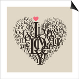 feoris - Heart Shape From Letters - Typographic Composition - Reprodüksiyon