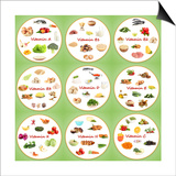 Collage Of Various Food Products Containing Vitamins Plakat af Yastremska