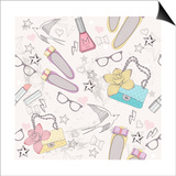 Cute Fashion Seamless Pattern For Girls. Pattern With Shoes, Bags, Cosmetic, Makeup Elements Affiches par cherry blossom girl