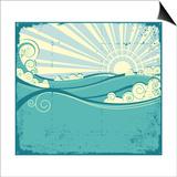 Sea Waves. Vintage Illustration Of Sea Landscape Art by  GeraKTV