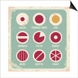 Retro Set Of Food Pictogram, Icons And Symbols Prints by  Lukeruk