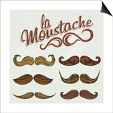 Hand Drawn Brown Mustache Set Art by  Melindula