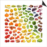 Collection Of Fruits And Vegetables Poster by  egal