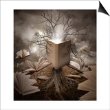 Old Tree Reading Story Book Poster by  Angela_Waye