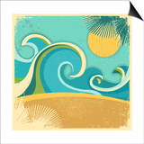 Vintage Nature Sea With Waves And Sun Prints by  GeraKTV