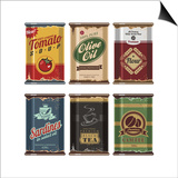 Retro Food Cans Collection Poster by  Lukeruk