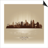 London England Skyline City Silhouette Art by  Yurkaimmortal