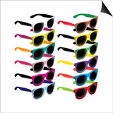 Set Of Colorful Retro Sunglasses Print by  Rashomon