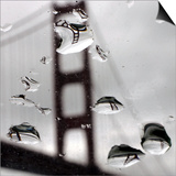 Rain Drops are Shown on a Car Windshield with the Golden Gate Bridge in Background Art