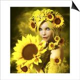 Sunflower Girl Pósters por Atelier Sommerland