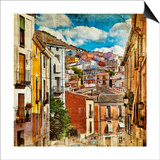 Colorful Spain - Streets And Buildings Of Cuenca Town - Artistic Picture Prints by  Maugli-l