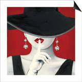 Cappello con tesa larga su sfondo rosso I Poster di Marco Fabiano