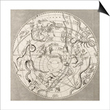 Antique Illustration Of Celestial Planisphere (Southern Hemisphere) With Constellations Prints by  marzolino