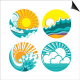 Sun And Sea Waves Icons Of Illustration Of Seascape For Design Art by  GeraKTV