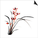 Chinese Traditional Ink Painting Of Orchid On White Background Prints by  elwynn