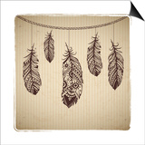 Ethnic Feather On The Cardboard Background Prints by  transiastock