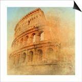 Great Antique Rome - Coloseum , Artwork In Retro Style Prints by  Maugli-l