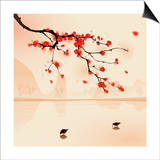 Oriental Style Painting, Plum Blossom In Spring Print by  ori-artiste