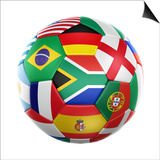 3D Rendering Of A Soccer Ball With Flags Of The Participating Countries In World Cup 2010 Posters by  zentilia