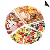 Food For A Balanced Diet In The Form Of Circle. Isolated On White Posters par  Volff