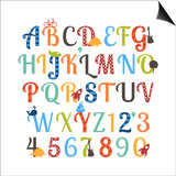 Cute Retro Style Boy Themed Alphabet Set Art by Pink Pueblo